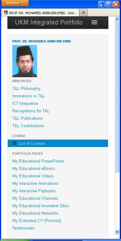 PROF. DR. MOHAMED AMIN BIN EMBI's i-Folio Page