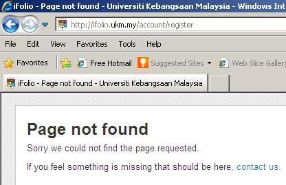 ifolio page error