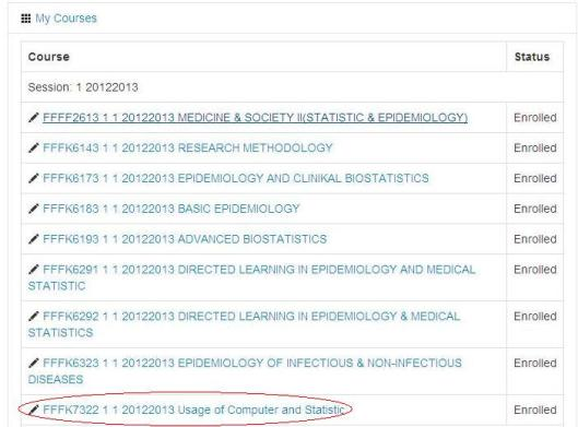 Select the course that you want to upload the study guide to