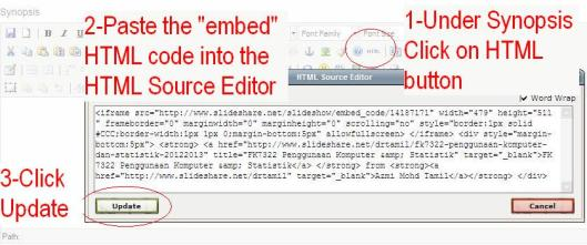 Go back to Synopsis, click on HTML button and paste the embed code