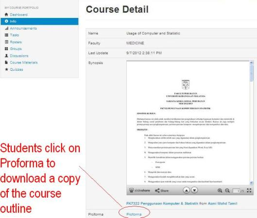 Now students can browse the guide online directly or download it by clicking on the Proforma text