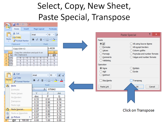 Select the cells, click copy, insert new sheet, click paste special and select transpose.
